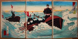 La Guerra Sino-Japonesa. Ukiyo-e (tríptico)