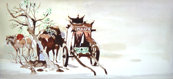 horse-resting-from-cart-in-the-snow